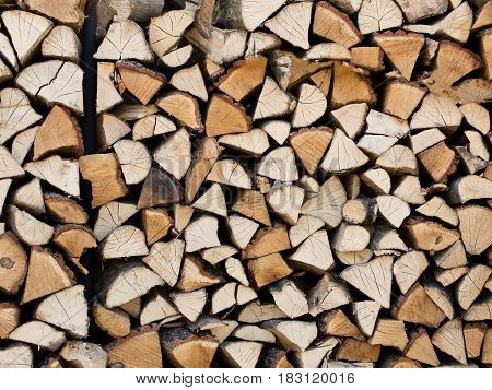 Firewood chopped and folded, prepared for oven natural texture