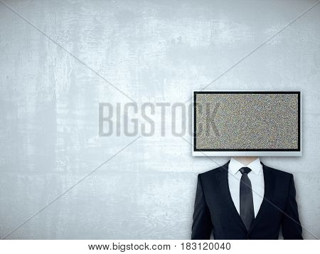 TV screen headed businessperson on concrete background. Mock up
