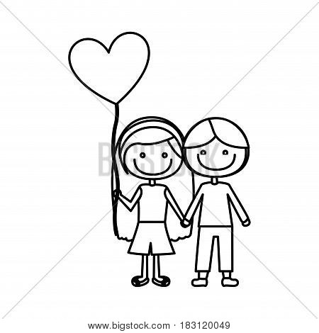 monochrome contour of caricature of couple kids in casual clothes with balloon in shape of heart vector illustration