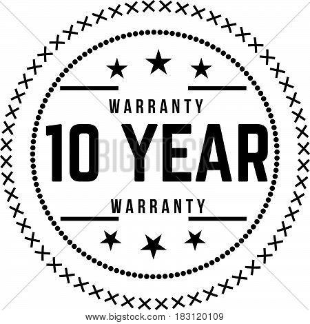 10 years warranty label icon vector vintage