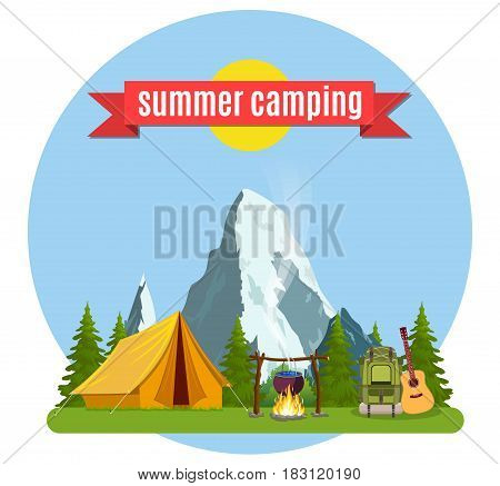 Summer camp. Landscape with yellow tent, campfire, forest and mountains on the background. Adventures in nature, vacation, and tourism vector illustration.