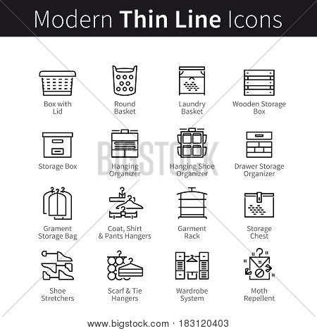 Household accessories and organizers for clothes, shoes and storage. In house storing furniture equipment. Thin black line art icons. Linear style illustrations isolated on white.
