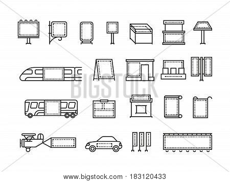 Outdoor advertising banners and transport advertise vector line icons. Advertisement billboard on transport, illustration of place for advertising