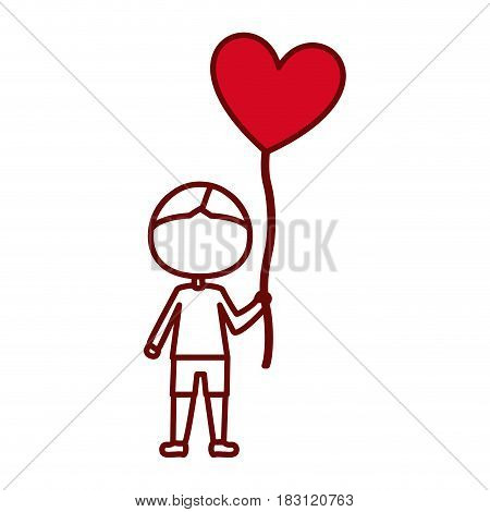 red silhouette of caricature of faceless kid with t-shirt and short pants with balloon in shape of heart vector illustration
