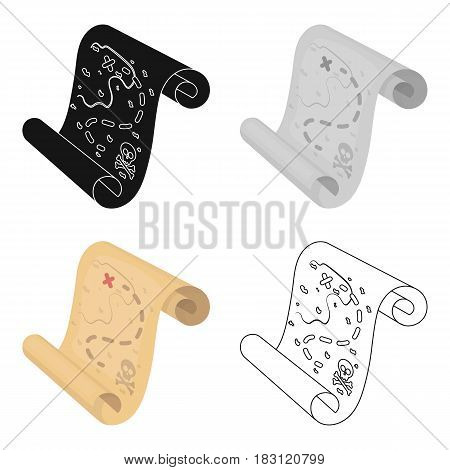Pirate treasure map icon in cartoon style isolated on white background. Pirates symbol vector illustration.