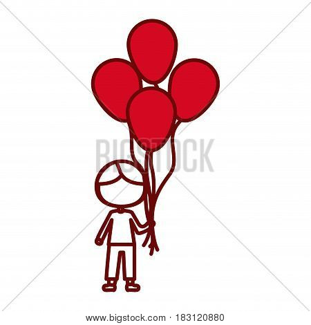 red silhouette of contour of caricature of faceless kid with t-shirt and pants with many balloons vector illustration