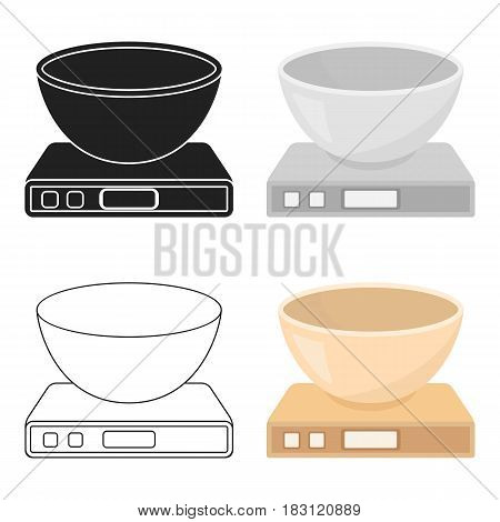 Kitchen scale icon in cartoon style isolated on white background. Household appliance symbol vector illustration.