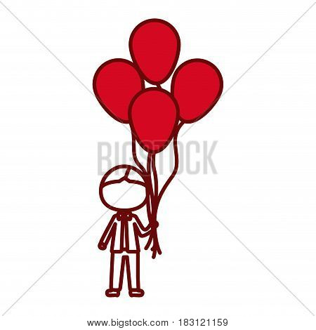 red silhouette of caricature faceless kid with bow tie and many balloons vector illustration