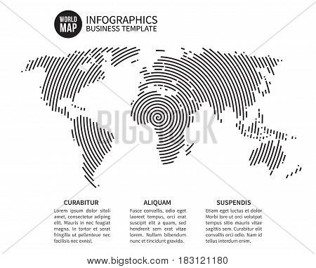 Earth world map of spiral line. Abstract geography vector background. Globe map with swirl strip round, illustration of map pattern spiral line