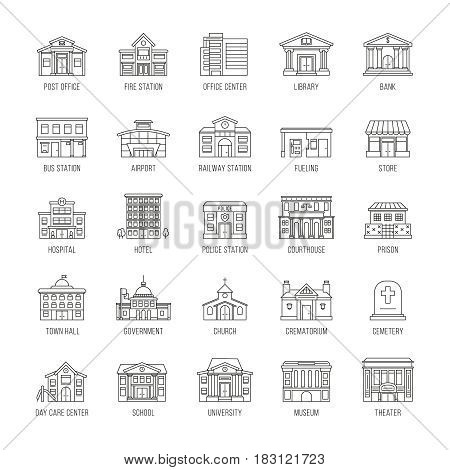 Government buildings vector thin line icons set. Building house police and courthouse, illustration of buildings prison and church