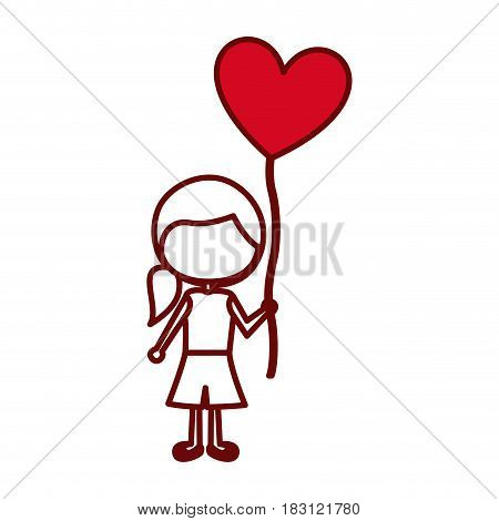 red silhouette of caricature faceless girl with short pants and ponytail hair and balloon in shape of heart vector illustration