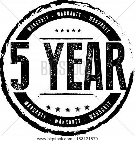 5 years and lifetime warranty label icon