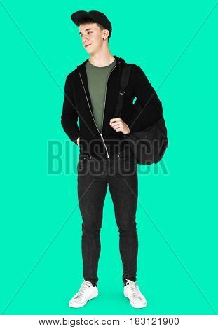 Young man full body studio shoot with casual style