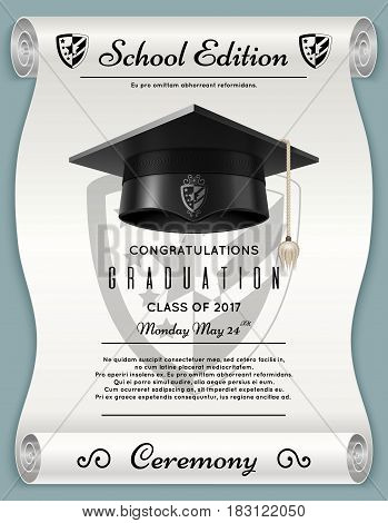 High school academic concept with graduation cap. Congratulations vector background. Celebration graduation education, illustration of poster ceremony graduation