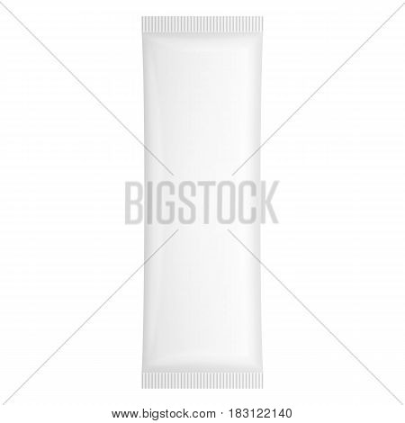 White Blank Plastic Pouch Pocket Bag. Transparent. Illustration Isolated On White Background. Mock Up Template Ready For Your Design. Vector EPS10