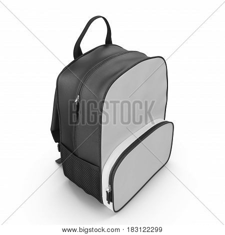 Black backpack or back pack or school bag or rucksack isolated on white background. 3D illustration