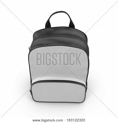 Front view Blue Backpack isolated in white background. 3D illustration