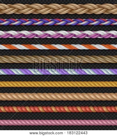 Seamless vector straight ropes and strings isolated on transparent background. Set of colored ropes, illustration of different rope