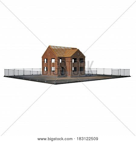 Private House Construction on white background. 3D illustration