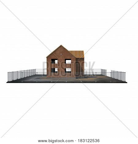 Private House Construction on white background. Side view. 3D illustration