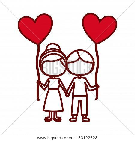 red silhouette of caricature faceless couple of boy and girl with balloon in shape of heart vector illustration