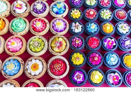 Soap Carving Souvenir At Opium Museum Market In Chiang Rai Thailand.