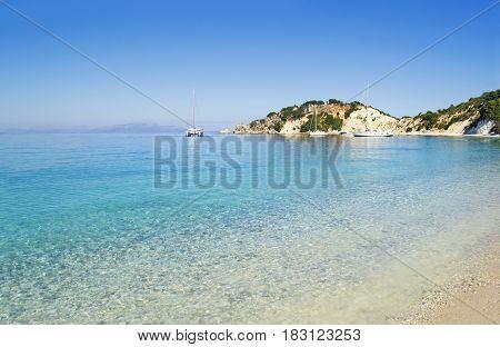 Gidaki beach landscape at Ithaca Ionian islands Greece