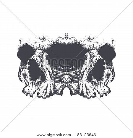 Abstract dotwork grunge horror skull. Hand drawn tattoo design or T-shirt print. Vector illustration.
