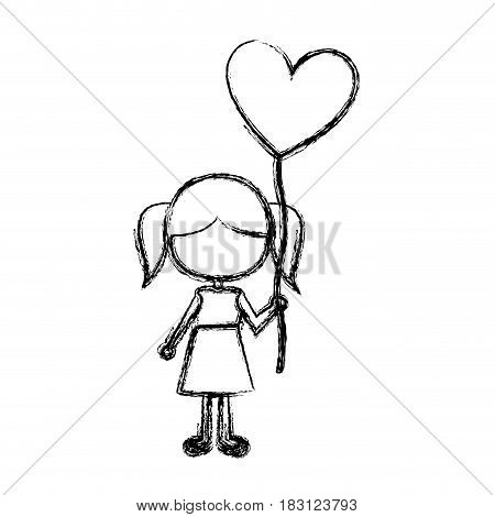 monochrome sketch of caricature faceless girl in dress with balloon in shape of heart vector illustration