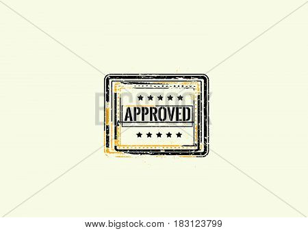 approved warranty label icon grunge retro vintage