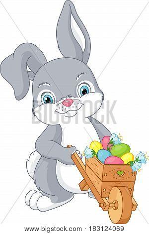 Rabbit wheeling a wheelbarrow with Easter eggs