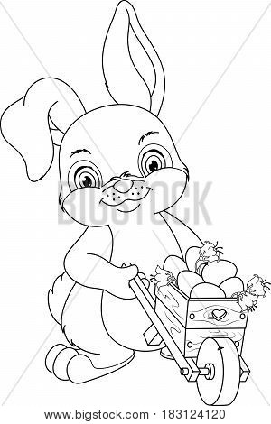 Rabbit wheeling a wheelbarrow with Easter eggs, Coloring Page
