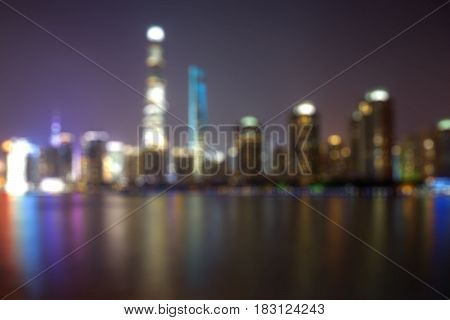 Blurred background with colorful blurry lights and buildings at Lujiazui financial center in Shanghai China