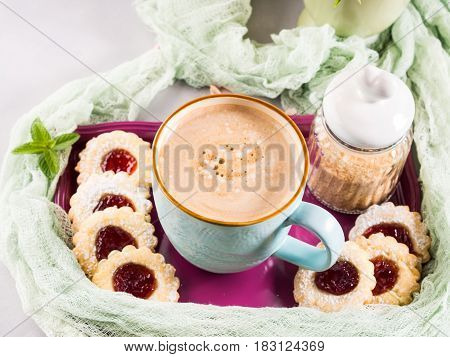 Mug Of Coffee Cookies And Flowers