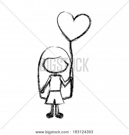 monochrome sketch of caricature faceless girl with t-shirt and short pants and balloon in shape of heart vector illustration
