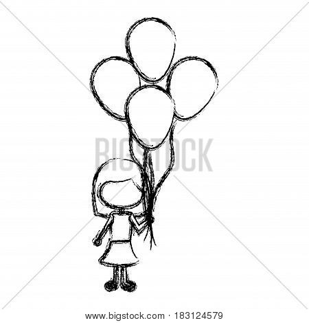 monochrome sketch of caricature faceless girl with dress and short hair and many balloons vector illustration