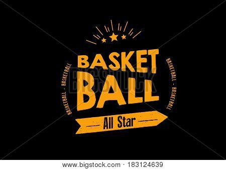 basketball allstar icon vector vintage grunge retro