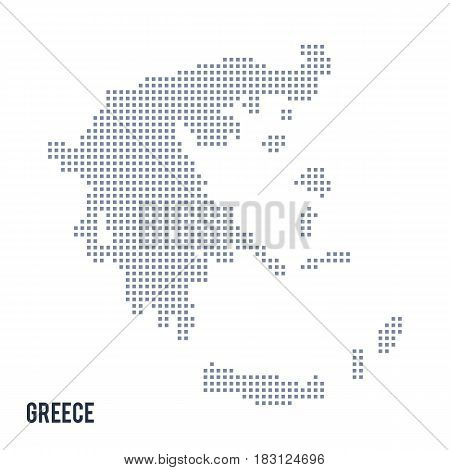Vector Pixel Map Of Greece Isolated On White Background