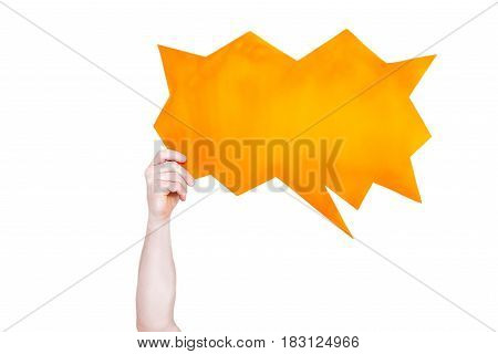 Person Holding Orange Empty Speech Bubble With Copy Space Isolated On White
