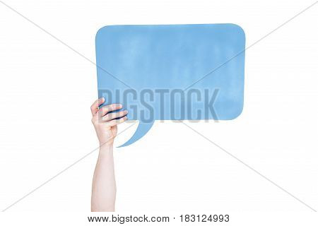 Person Holding Blue Empty Speech Bubble With Copy Space Isolated On White