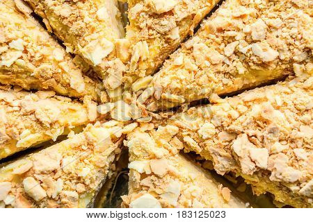 Closeup of delicious homemade puff cake called Napoleon background