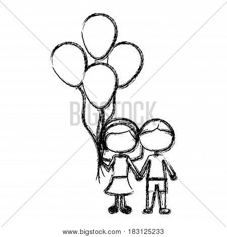 monochrome sketch of caricature faceless couple in suit informal with many balloons vector illustration
