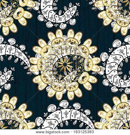 Vector pattern on blue background with golden elements. Damask pattern for design.