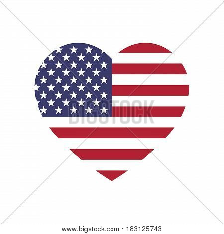 USA flag in a shape of heart. Patriotic national symblol of United States of America. Simple flat vector illustration.