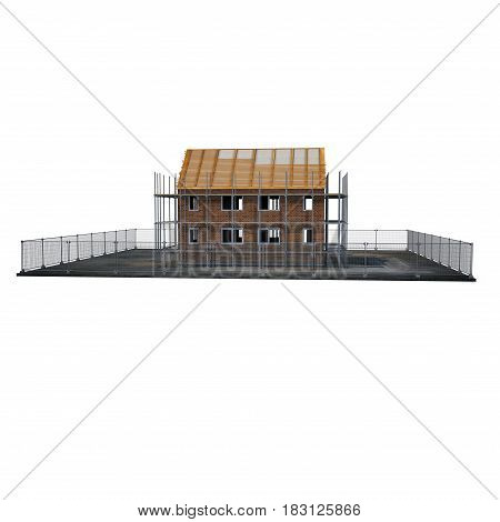 New home being built with bricks on white background. Side view. 3D illustration