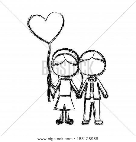monochrome sketch of caricature faceless couple of boy short hair and girl with pigtails hair with balloon in shape of heart vector illustration