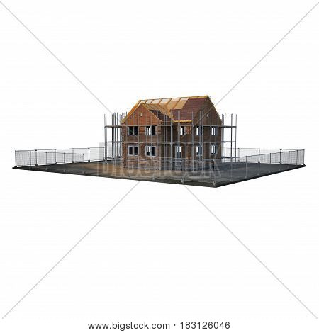 construction of private houses of brick on white background. 3D illustration