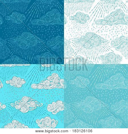 Vector Set Of Shower Seamless Patterns.