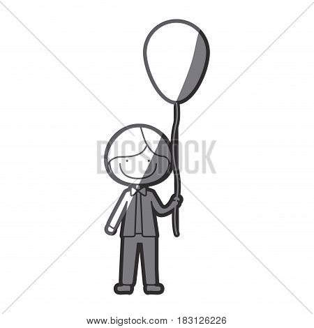 grayscale silhouette of caricature smile kid with bow tie and balloon vector illustration