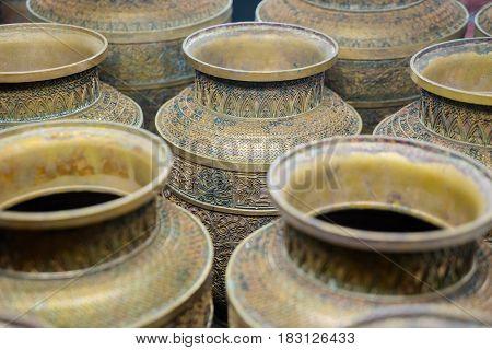 SHANGHAI China. April 20 2017: Image of decorative Chinese vase on the market in Shanghai China